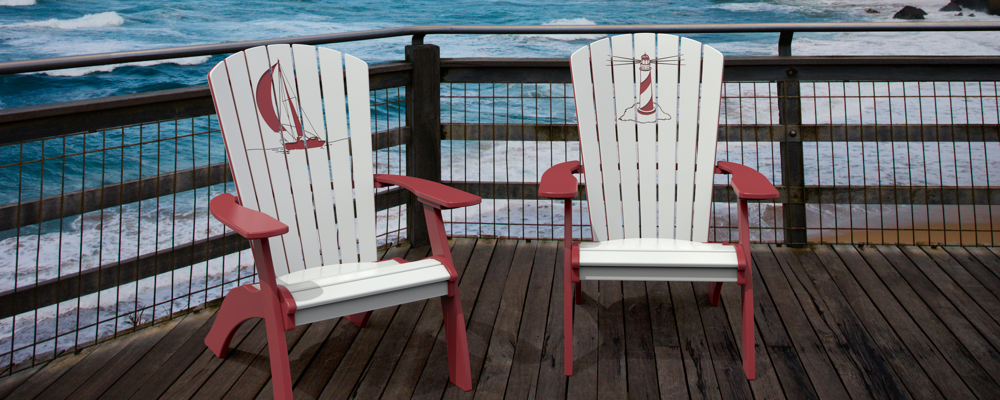 Engraved Coastal Adirondak chairs